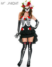 MOONIGHT Skeleton Day of The Dead Costume Women's Sexy Sugar Skull Dia Flower Fairy Halloween ghost vampire bride Fancy Dress(China)
