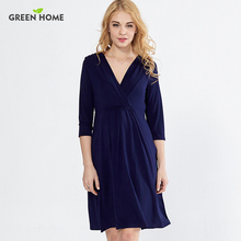 Green Home Jersey Elegant Maternity Nursing Dress for Pregnancy Woman Sexy Maternity Breastfeeding Dress Knee-Length Clothing(China)