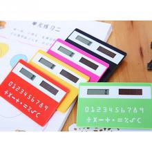 Hot 1pc  stationery card portable calculator mini handheld ultra-thin Card calculator Solar Power Small Slim Pocket Calculator