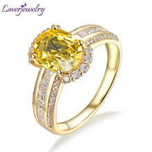 Luxury Design  Solid 18Kt Gold Genuine Yellow Sapphire Gemstone Wedding Ring Jewelry Princess Cut Good Diamond for wife