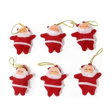 6pcs Christmas Santa Claus Ornaments Festival Party Xmas Tree Hanging Gifts toy  Party Hanging School bags pendant