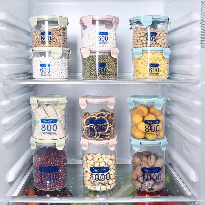 Contenedores de almacenamiento de alimentos con tapa,Juego de recipientes de pl/ástico para alimentos,Olla de sellado duradera de despensa,Contenedores de almacenamiento de cereales para alimentos