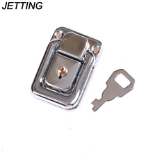 1PCS J402 Cabinet Box Square Lock With Key Spring Latch Catch Toggle Locks Mild Steel Hasp For Sliding Door Window Hardware(China)