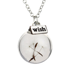 Necklace Jewelry Silver Plated Glass Bottle Necklace Natural Dandelion Seed In Glass Long Necklace Make A Wish Glass Bead Orb(China)