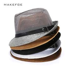 cuban style hats  Fashion Mens Summer Jazz Hat Breathable Casual Floppy Jazz Hat for Men and Women Popular Black Fedora Cap