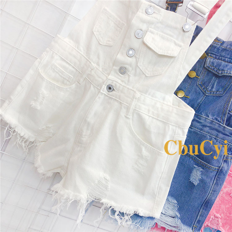 Denim Bibs Schoolgirl 2018 Spring New Loose Korean Thin Thin hole Flashes Fringe Shorts (5)