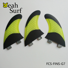 New design FCS Fin G7 Carbon Surfboard Fin Yellow color Honeycomb Fiberglass Fin Surf Board Fin G7 Quilhas Surf FCS