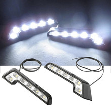 2pcs/lot 6 LED Universal L Shape Daytime Running Light DRL 12V Front Bumper Grille Insert Bright Turn Signal Lamp