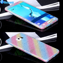 Netcosy For Samsung Galaxy S6 Edge Full body phone sticker Shiny Glitter Sparkling Diamond Film cell phone Stickers For S6 EDGE(China)