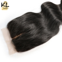 KL Hair Middle Part Silk Base Closure Body Wave Human Hair Brazilian Remy Hair 4x4 Silk Closure Bleached Knots With Baby Hair