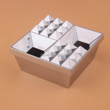 Hot Fashion Cheap Price silver color Square plastic ashtray with lids Cenicero ash tray For hotel(China)