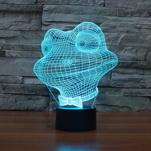 Fashion Toy Gift 3D Animal Frog LED Illusion Night Light Touch Switch Table Lamp USB 7 Colors Room Decor Colorful Kids Lighting