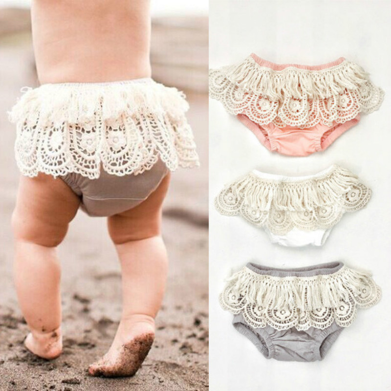 Newborn Nappy Diaper Cover Bloomers Panties Baby Girls Lace Ruffle Shorts Pants