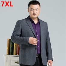 Big size men's clothing suit male plus size casual loose business suit jacket Big men Big yards Leisure suit 6XL 7XL 5XL(China)