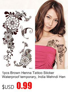 50pcs/lot Black Arabic Tattoos Women Arm Designs,Beautiful Flower Butterfly Waterproof Fake Temporary Tattoo Stickers Wholesale 9