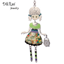 D&Rui Jewelry Cute Fashionable Enamel Necklace New Brand Alloy Long Chain Women Necklace Pendant Trendy Brand Jewelry(China)