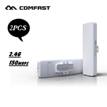 2PC 150Mbps Outdoor CPE 2.4G wi-fi Ethernet Access Point Wifi Bridge Wireless 1-3KM Extender CPE Router With POE WIFI Router(China)