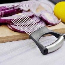 Легко вырезать лук держатель резки овощей Инструменты Кухня гаджеты больше вонючий руки помидор резак нержавеющая сталь # HSKD4430(China)