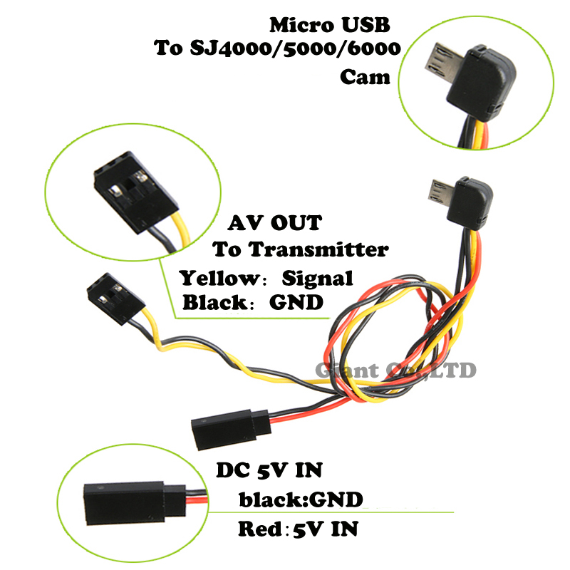 Micro USB to AV Out font b Cable b font for SJ4000 SJ5000 SJ6000 Camera FPV online buy wholesale cable transmitter from china cable ts832 transmitter wiring diagram at mifinder.co