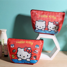 Kawaii Cartoon Kitty Red Cosmetic Bag.Zipper Makeup Case.Travelling Wash Bag.Portable Toiletry Bags.Coin Purse Storage Bag