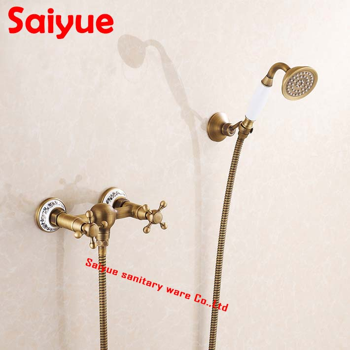 Antique Brass Bathroom tub Faucet Dual Handle Mixer Tap with rain telephone Hand Sprayer Wall Mount<br><br>Aliexpress