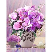 5D Diamond Painting Cross Stitch Purple Floral Vase Crystal Needlework Diamond Embroidery Flower Full Diamond Home Decorative 3