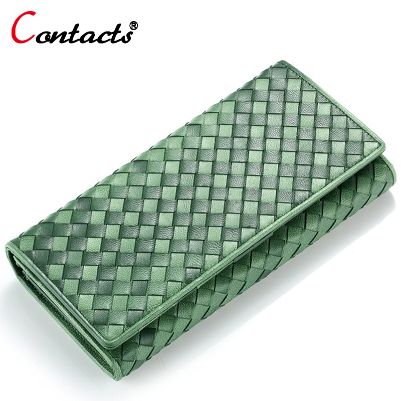 CONTACTS Knitting Genuine Leather Women Wallet Female Coin Purse Credit Card Holder Ladies Money Bag Phone Wallet Long Clutch<br>