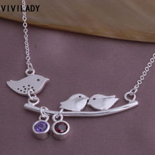VIVILADY Fashion Silver Color Lovely Tiny Three Birds Leaf Pendant Necklace Women Chain Girl Gifts Red Purple Zircon Stone
