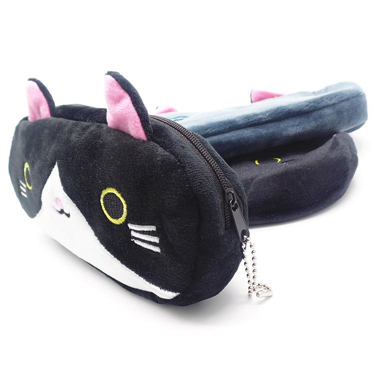 Plush Pencil Case School Supplies For Girls Stationery Office Cute Kawaii Cartoon Cat Pen Bag pouch kits Kids Gift Makeup bag (11)