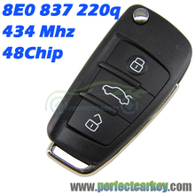 8E0837220Q 434Mhz 8E0 837 220 Q 48chip HU66 Auro flip remote key 3button car remote folding For Audi A4 2008 2009 2010 2011
