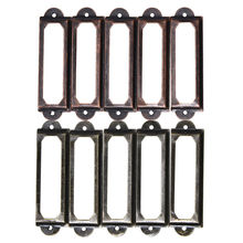 10Pcs/set Antique Brass Metal Label Pull Frame Handle File Name Card Holder For Furniture Cabinet Drawer Box Case Bin
