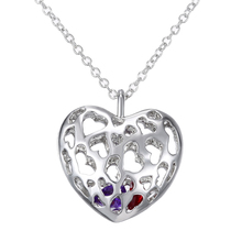 Special Hollow Heart Pendant Necklaces Jewelry Gift For Girls With Purple Red Rhinestone Silver Plated Long Link Chain Collares
