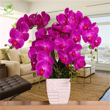 Moda Orchidea Fiori Artificiali Farfalla Orchidea Fiore Di Seta Artificiale FAI DA TE Bouquet Phalaenopsis Wedding Decorazione Della Casa(China)