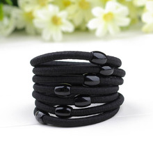 Elastic rubber band hair accessory black plus velvet hair rope accessories headband brief candy color