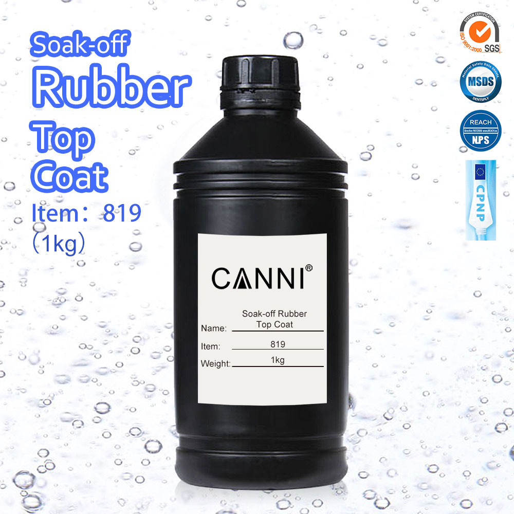 #819 CANNI Rubber Top Coat Raw Material 1000g Nail Salon Manicure UV LED Gel Polish Sticky Layer Wipe Glossy Rubber Topcoat 1kg<br>