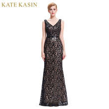 Long Evening Dress Kate Kasin Double V Neck Beaded Evening Gowns Lace Mother of the Bride Dresses Black Formal Prom Dress 0034(China)