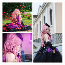 MCOSER Vocaloid Megurine Luka Pink Long Girl's Anime Cosplay Wig & Curly Ponytail