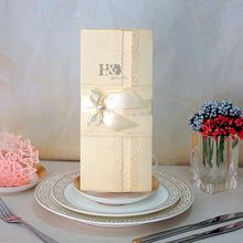 1pc Sample Romantic Delicate Carved Pattern Wedding Invitation Card Elegant Lace Favor Personalized Custom with Ribbon