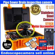 "waterproof 40M meter accounter keyboard recorder Waterproof Pipe Sewer Snake Inspection Camera Kit 7"" LCD Color Mon DVR"