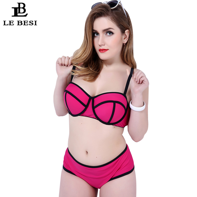 Two-pieces Swimsuit Solid Patchwork Bikini Set Lace-up Swimwear Women Bikinis Underwire Push Up Bathing Suit Plus Size 6XL 50-54<br><br>Aliexpress