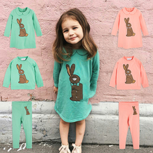 2017 New Autumn MR Brand Kids Clothes sets Rabbit Sweatshirt T shirt Pants Dress Baby Boys Girls Clothing Bobo Choses Tees Tops