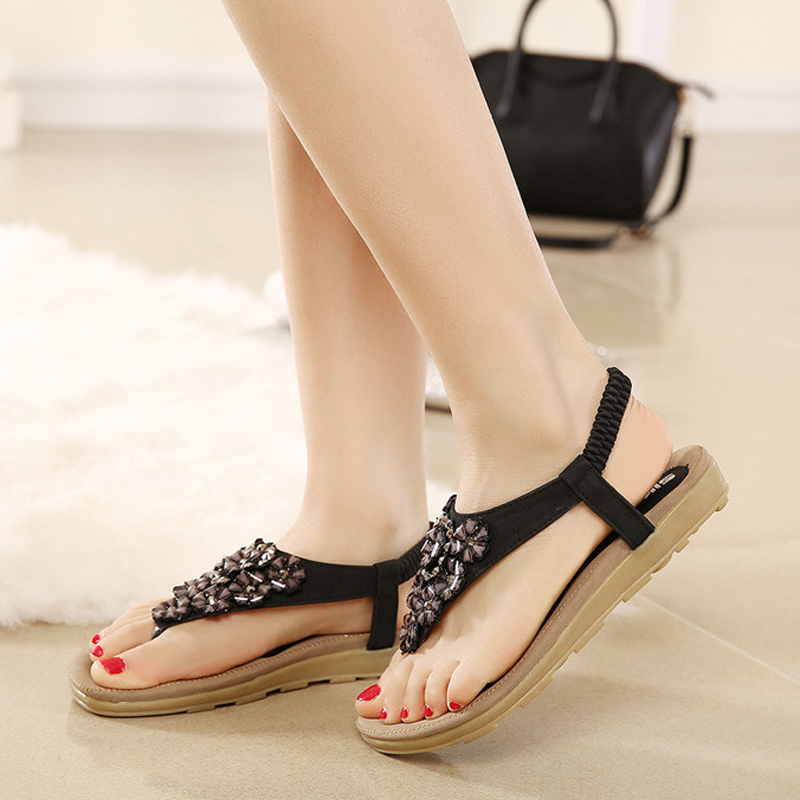Women sandals 2017 high quality PU fashion flower summer sandals women comfortable elastic band back strap flat casual sandals<br><br>Aliexpress