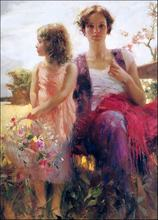 High quality Mother and child  At Outside Landscape oil Painting canvas Pino Daeni wall artworks  For Home Decoration Customized