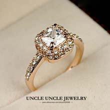 Classic!!! Rose Gold Color Princess Cupid Cut Square Zirconia Wedding Lady Finger Ring Wholesale