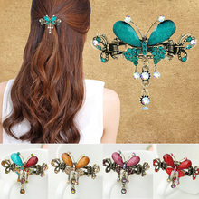 Vintage Women Elegant gem Butterfly Flower Hairpins Hair Barrette Clip Crystal Butterfly Bow Hair Clip Hair Accessories(China)