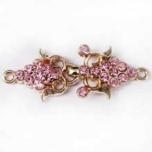 20set Pink Crystal Closure Waist Extender Hooks&Eyes Connectors Clasps Button Sewing Accessories For Clothes Bags NK315