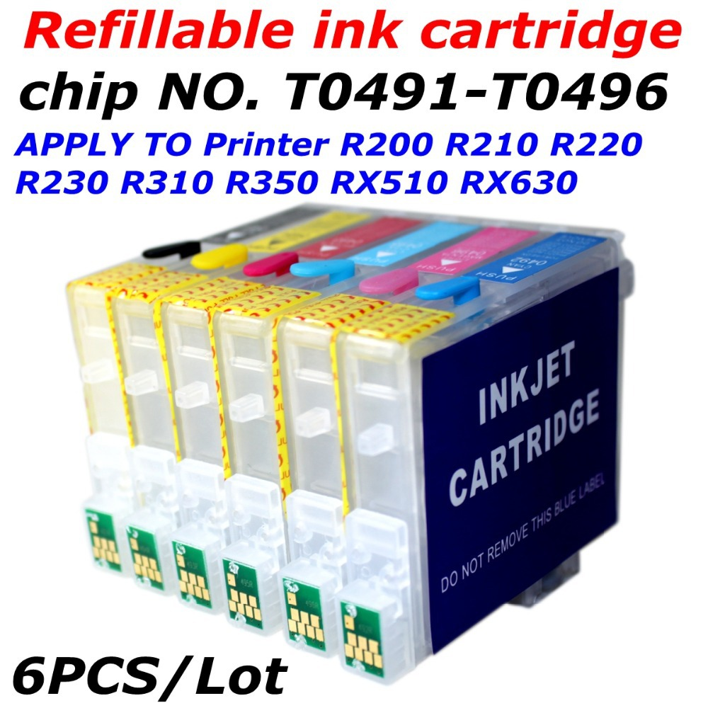 T0491-T0496 refill ink cartridge +arc chip  apply to printer R200 R210 R230 R300 R310 R320 R350 RX510 RX630 RX650 whit ARC chip<br><br>Aliexpress