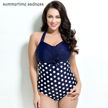 Latest Style Push Up One Piece Swimsuit Dot Halter Top Swimwear Women Large Size Big Bust Bathing Suit Maillot De Bain Femme(China)