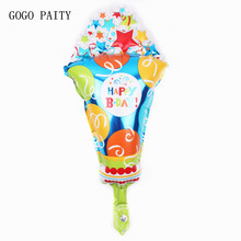 GOGO PAITY Birthday Decoration Arrangement Ice Cream Cake Balloon Valentine Day Wedding Balloon Birthday Fan(China)