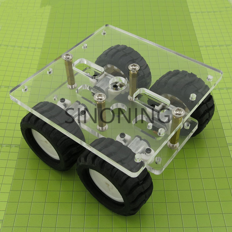transparency Acrylic N20 4WD Two layer Smart car chassis robot DIY kit<br><br>Aliexpress